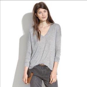 Madewell Women's Top Tee Long Sleeve Gray V-neck